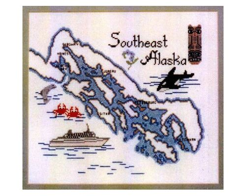 Southeast Alaska Map Cross Stitch Design