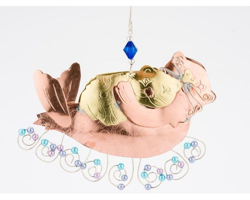 Momma Baby Otter Metal Ornament