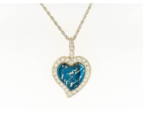 Star Of Alaska Heart Shaped Covellite Pendant With White Diamonds