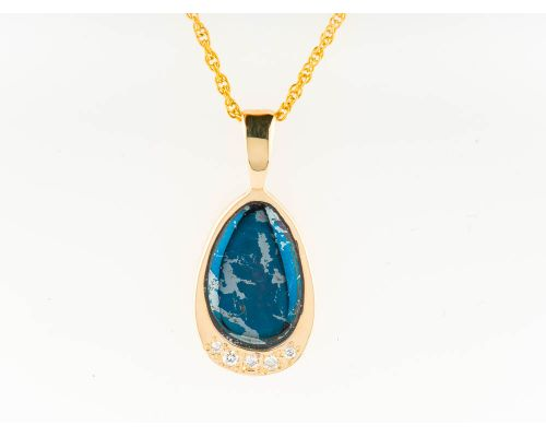Star Of Alaska Teardrop Covellite Pendant With White Diamonds