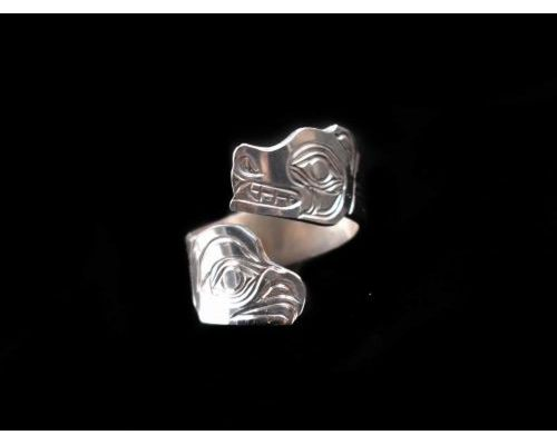 Totemic Eagle Bear Wrap Ring In Sterling Silver