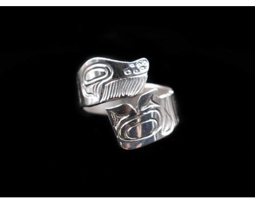 Totemic Humpback Wrap Ring In Sterling Silver
