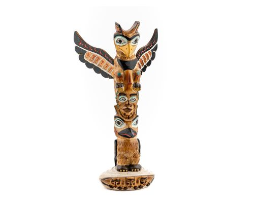 Alaska Black Diamond Mankind With Clam Shell Totem Pole