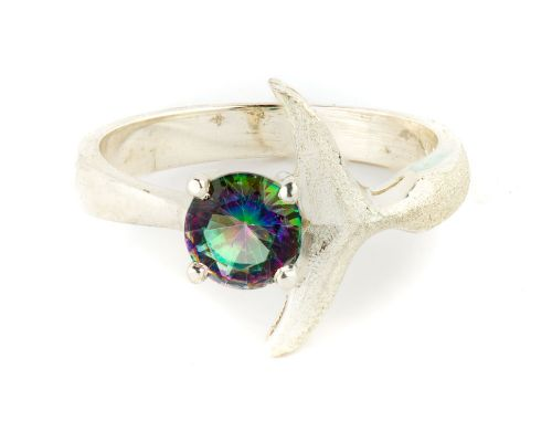 Hand Crafted Whale Tail Women's Ring With Northern Light's Stone