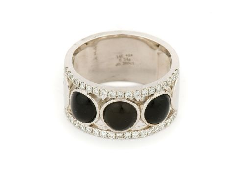 Alaska Black Petrified Wood .38CT Diamond Band Ladies Ring With 3 Circular Inlays