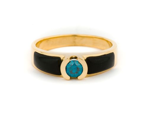 Alaska Black Petrified Wood Ladies Ring With Center Blue Diamond