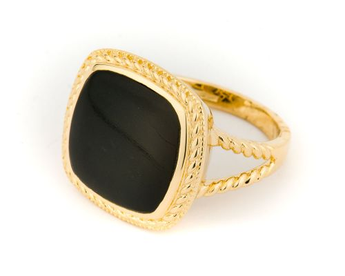 Alaska Black Petrified Wood Ladies Ring With Gold Rope Engraving